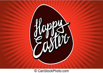 Happy Easter typographic vector lettering greeting card with red painted watercolor egg on the background.  Hand drawn typography for Easter.