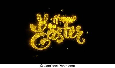 happy Easter Typography Written with Golden Particles Sparks...