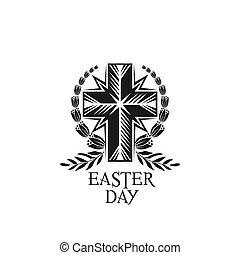Happy Easter vector cross and laurel wreath icon