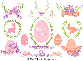 Happy Easter vector design set