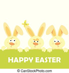 Happy Easter vector design with cute rabbit characters - advertising poster or flyer template with a family of brown rabbits. Vector.