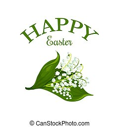 Happy Easter vector floral lily bunch icon