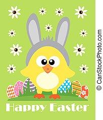 Happy Easter vector, funny chicken