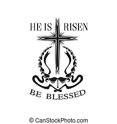 Happy Easter vector He is Risen cross icon - Easter He is...