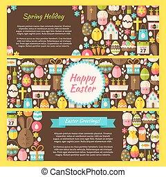 Happy Easter Vector Horizontal Bann