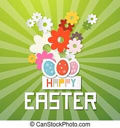 Happy Easter Vector Illustration with Paper Cut Flowers and Eggs on Green Background