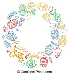Happy Easter. Vector pattern with eggs, bunny, flowers.