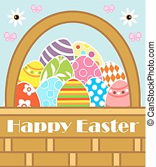 Happy Easter vector with basket