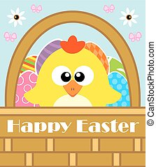 Happy Easter vector with chicken