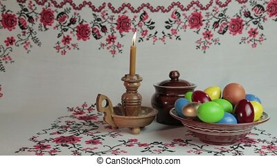 Happy Easter - Orthodox Easter. On a table covered with a...