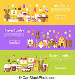Happy Easter Web Horizontal Banners