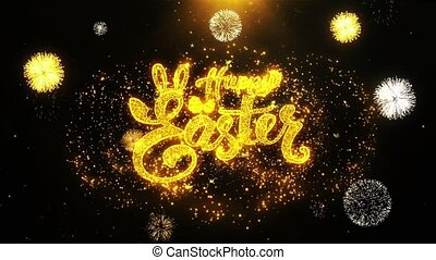 happy Easter Wishes Greetings card, Invitation, Celebration Firework Looped
