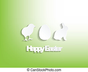 Happy Easter with a bunny, egg and a chicken