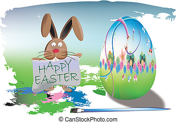 Happy Easter with bunny and egg 3d