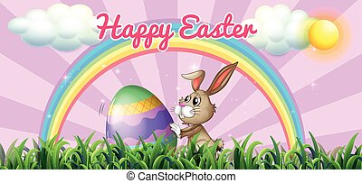 Happy Easter with bunny and egg on the field