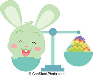 Happy easter with bunny and egg