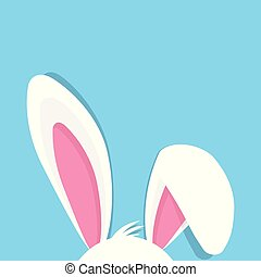 Happy Easter with bunny ears On blue Background, vector...