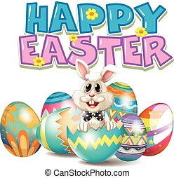 Happy Easter with bunny in egg