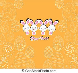 Happy Easter with bunny on the yellow background pattern of ornamental eggs