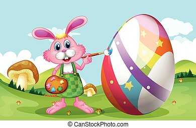 Happy Easter with bunny painting egg
