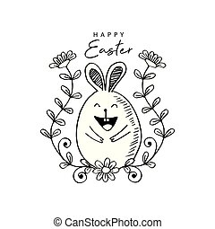 Happy Easter with cute rabbit
