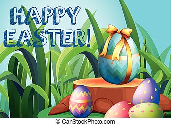 Happy Easter with decorated eggs in the garden