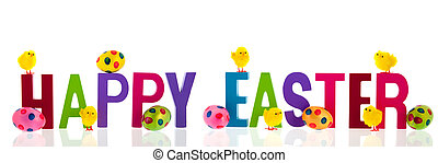 Happy easter with little chicks and colorful painted eggs