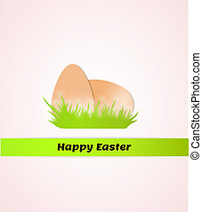 happy easter with eggs in grass