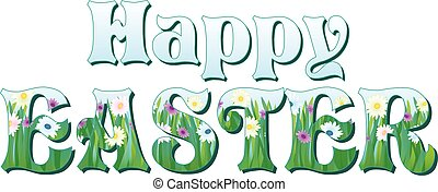 Happy Easter with Flowers in letters Banner