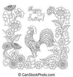 Happy Easter with ornamental rooster and flowers