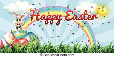 Happy easter with rabbit and egg