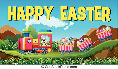 Happy easter with rabbit and eggs on the train