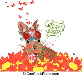 Happy easter with rabbit, sunflowers and butterflies background