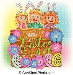 Happy Easter wooden banner with paper flowers and cute kids. Vector illustration