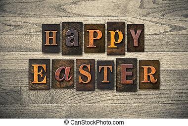 Happy Easter Wooden Letterpress Concept