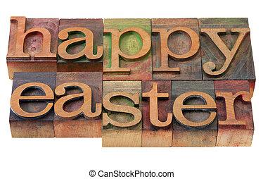 happy Easter- words in letterpress type
