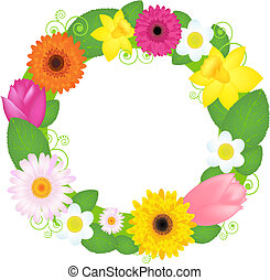 Happy Easter - Wreath From Flowers And Leaves, Isolated On...