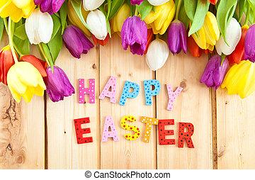 Happy Easter written in multicolored letters