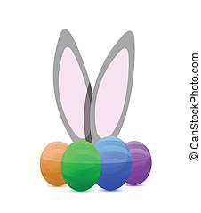happy eastern eggs and bunny illustration design
