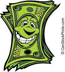 Cartoon Money Hundred Dollar Bills with Smiling Face Vector Cartoon Image