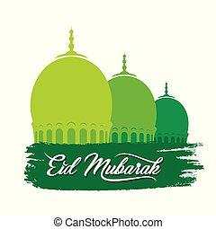 happy eid festival greeting design - vector illustration of...