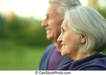 elderly couple at nature
