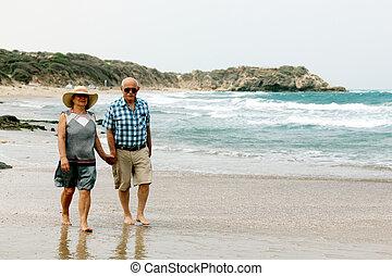 Happy elderly couple enjoying their retirement vacation near...