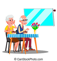 Happy Elderly Couple Sitting In Cafe And Watching In Digital Screen Vector. Isolated Illustration