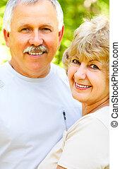 Happy elderly couple - Smiling happy elderly couple in love...