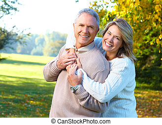 elderly seniors couple - Happy elderly seniors couple in ...