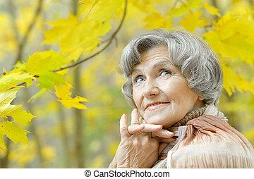 Happy elderly woman