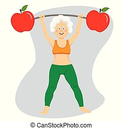 Happy elderly woman exercising dumbbell bar with apples