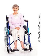 elderly woman sitting on wheelchair
