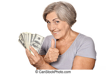 Happy elderly woman with dollars on white background